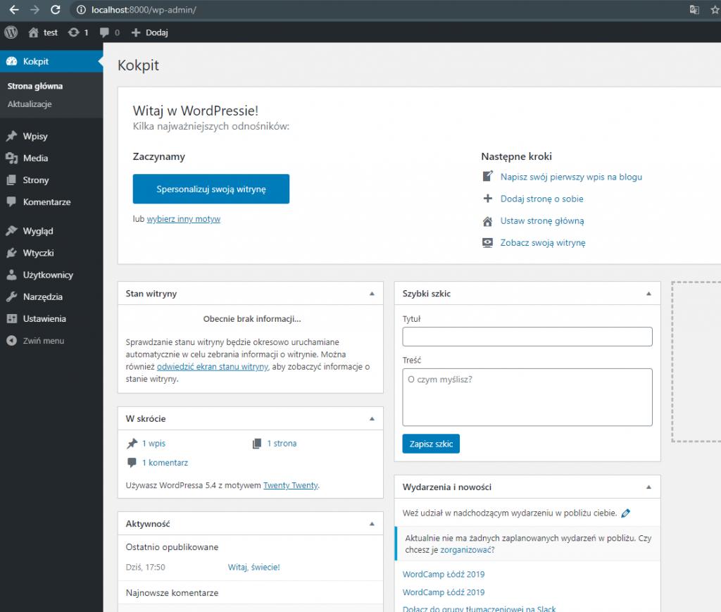 Pusta instalacja WordPress'a